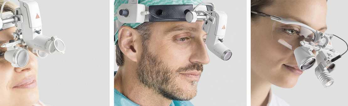 Binokularlupen und medizinische Kopfleuchten